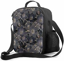 Insulated Lunch Bag Vintage Navy Blue & Smoky Gray