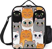 Insulated Lunch Bag White Gray Cats Lunch Box