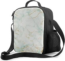 Insulated Lunch Bag White Mint Green Marble Gold