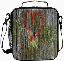 Insulated Lunch Bag Wood Brown Retro Heart