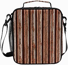 Insulated Lunch Bag Wood Brown Retro Reusable