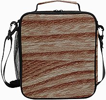 Insulated Lunch Bag Wood Brown Reusable Cooler