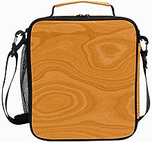 Insulated Lunch Bag Wooden Brown Light Reusable