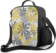 Insulated Lunch Bag Yellow Gray Flower Cooler Bag