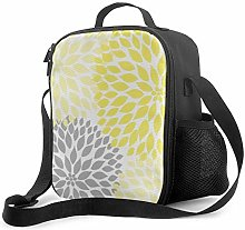 Insulated Lunch Bag Yellow Grey Dahlia Floral