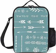 Insulated Lunch Box Bags Teal Line Arrow Design