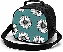 Insulated Lunch Box Daisies Blue Pattern Kids