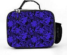 Insulated Lunch Box Dark Blue Flower Lunch Bag