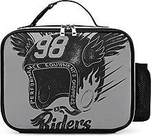 Insulated School Lunch Bag Cool Motorcycle Helmet