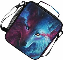 Insulated Starry Sky Nebula Animal Wolf Lunch Bag