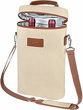 Insulated Wine Tote Carrier - 2 Bottle Travel