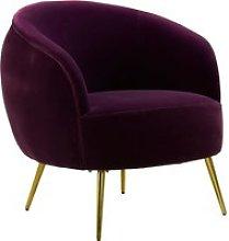 Intercrus Lounge Chaise Armchair In Purple Velvet