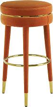 Intercrus Velvet Bar Stool In Orange