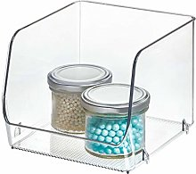 InterDesign Linus Stacking Organizer Bin, Medium,