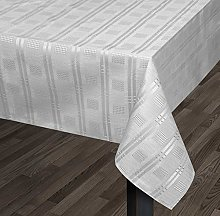 Intimates Luxury Woven Jacquard Silver Tablecloth