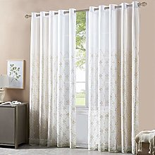 INVACHI European Floral Embroidery Curtains Sheers