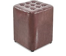 IOPQQ Small Foot Stool Oil Wax Leather Pouf