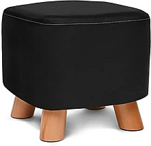 IOPQQ Solid Wood Square Footstool, Ottoman Pouffe
