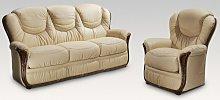 Iowa 3+1 Genuine Italian Cream Leather Sofa Suite