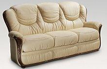 Iowa 3 Seater Genuine Italian Cream Leather Sofa