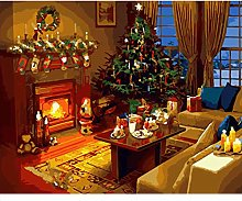IOWLDMW Paint by Numbers Villa Fireplace Christmas