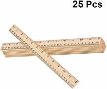 iplusmile 25PCS Wooden Ruler, Hardwood Metre