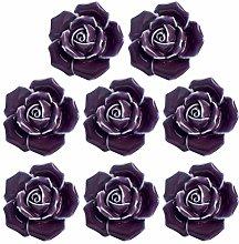 iplusmile 8pcs Purple Elegant Rose Pulls Flower