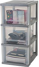 Iris Ohyama 3-Drawer Storage cart, Silver,