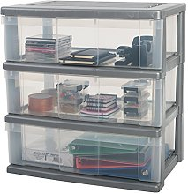 Iris Ohyama 3-Drawer Wide Storage cart, Silver, 3