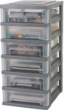 Iris Ohyama 6-Drawer Storage cart, Silver,