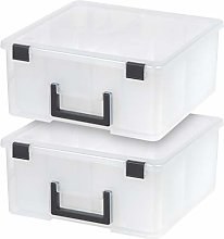 IRIS USA DCB-4 Portable Divided Craft Bin, Clear,