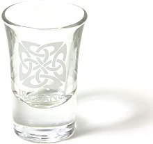 Irish Crystal Boxed Shot Glass with Celtic Square