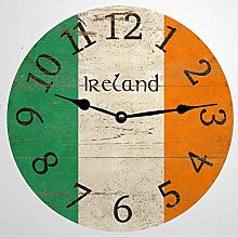 Irish Ireland Wood Round Wall Clock, Rustic Wooden