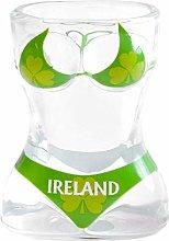 Irish Novelty Shot Glass with Green Shamrock Full