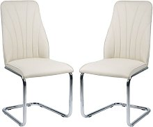 Irma Dining Chairs In Cream Faux Leather In A Pair