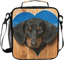 iRoad Large Lunch Bag Cooler Dachshund Wooden Love