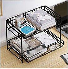 Iron Desktop Bookshelf Desk Organizer with 2 Trays