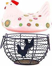 Iron Egg Storage Basket with Handle Ceramic