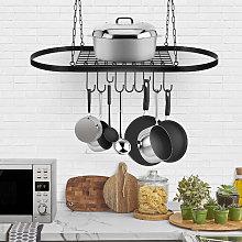 Iron Hanging Pot Pan Rack Hooks Storage Shelf