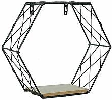 Iron Hexagonal Grid Wall Shelf Combination Hanging