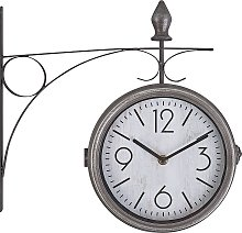 Iron Wall Clock ø 22 cm Silver and White ROMONT