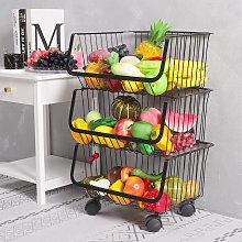 Iron Wire 3 Tier Fruit Vegetable Basket Storage