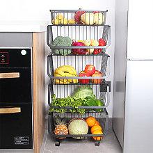 Iron Wire 5 Tier Fruit Vegetable Basket Storage