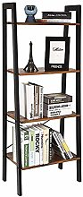 iropro Ladder Shelf Bookcase Rustic 4 Tier