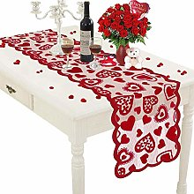 ISAKEN Valentines Day Red Heart Lace Table Runner,