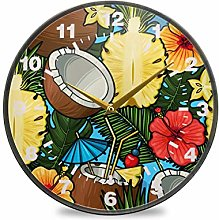 ISAOA 11.9 Inches Non-Ticking Wall Clock,Tropical