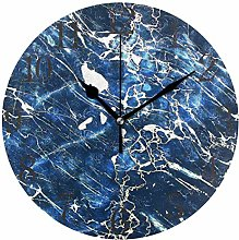 ISAOA 9.4 Inches Modern Wall Clock,Abstract Blue