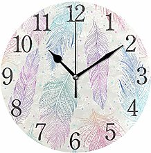ISAOA 9.4 Inches Modern Wall Clock,Colorful Animal