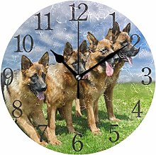 ISAOA 9.4 Inches Modern Wall Clock,Dog German