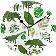 ISAOA 9.4 Inches Modern Wall Clock,Funny Dinosaurs
